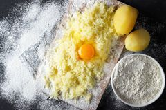 Grated boiled potatoes with flour, egg and salt for the preparation of an Italian dish - potato gnocchi royalty free stock images