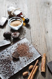 Grated cacao on top of chocolate bar Royalty Free Stock Image