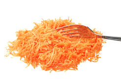Grated carrot with fork Royalty Free Stock Photos
