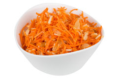 Grated carrot with pineapple in a white bowl Stock Photo