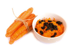 Grated carrot with raisin Stock Photography