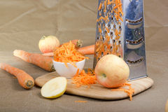 Grated carrot. Stock Photo