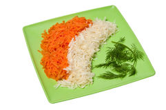 Grated carrots, celery and dill Royalty Free Stock Photography