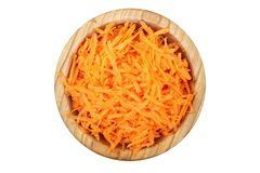 Grated carrots isolated royalty free stock photography
