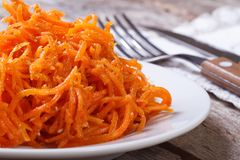 Grated carrots with spices Korean. macro Royalty Free Stock Photos