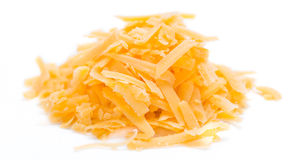 Grated Cheddar isolated on white Royalty Free Stock Photography