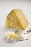Grated cheese. Grated Parmesan Cheese with little grater Royalty Free Stock Photography
