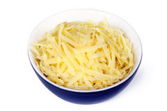 Grated Cheese in Bowl Isolated Royalty Free Stock Photos