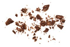 Grated chocolate isolated on white background. Top view Royalty Free Stock Photo