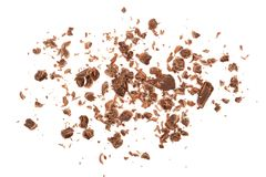 Grated chocolate isolated on white background. Top view Stock Image