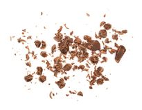 Grated chocolate isolated on white background. Top view Stock Photography