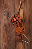 Grated chocolate, powder and cocoa beans Royalty Free Stock Photo