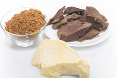 Grated cocoa and cocoa butter Stock Photos