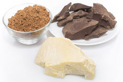 Grated cocoa and cocoa butter Royalty Free Stock Image