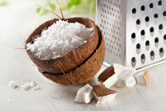 Grated coconut with grater. And nut royalty free stock images