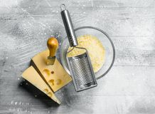 Grated fresh cheese royalty free stock images