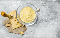 Grated fresh cheese royalty free stock photo
