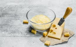 Grated fresh cheese stock photography