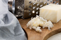 Grated lard on a wooden board Stock Photography
