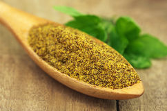Grated mustard seeds with green herbs Stock Images
