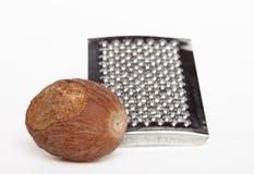 grated nutmeg Arkivbilder