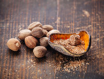 Grated nutmeg Royalty Free Stock Photos