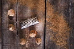 Grated nutmeg Stock Image