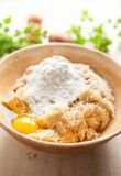 Grated raw potatoes with flour and eggs Stock Images