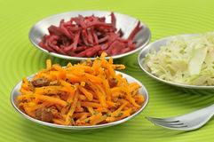 Grated salad trio Royalty Free Stock Photo