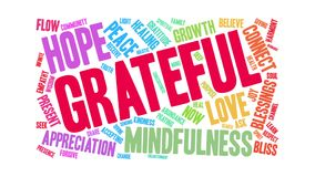Grateful Animated Word Cloud vector illustration