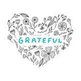 Grateful floral lettering. Hand letters and doodles elements Stock Image