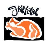 Grateful hand crafted badge.Bold drawn turkey Stock Image