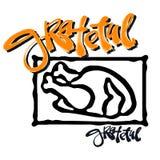 Grateful hand crafted badge.Bold drawn turkey Stock Photos