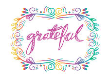 Grateful. Hand lettering. Modern calligraphy Stock Photography
