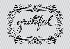 Grateful. Hand lettering. Modern calligraphy Stock Photos