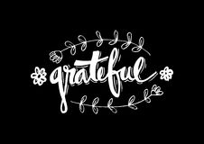 Grateful. Hand lettering. Modern calligraphy Royalty Free Stock Photo