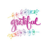 Grateful  hand lettering. Stock Photography
