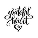 Grateful heart black and white handwritten lettering inscription Stock Images