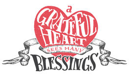 Grateful heart sees many blessings illustration Stock Photos
