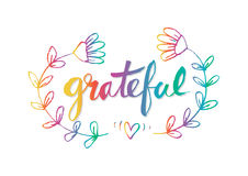 Grateful. Ink hand lettering. Modern calligraphy Royalty Free Stock Photography