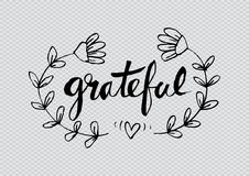 Grateful. Ink hand lettering. Modern calligraphy Stock Photo