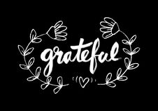 Grateful. Ink hand lettering. Modern calligraphy Royalty Free Stock Photo