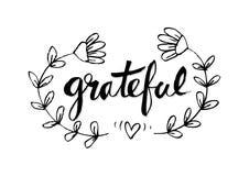 Grateful. Ink hand lettering. Modern calligraphy Stock Image