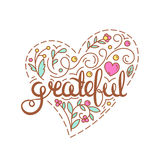 Grateful. Inspirational quote. Thanksgiving card. Lettering print home decoration in line art style Royalty Free Stock Images