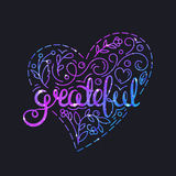 Grateful Poster with Lettering and Space Texture. Glowing Stars Effect. Stock Photography