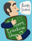 Grateful Teacher Embracing his Commemorative Gift for Teacher`s Day, Vector Illustration Royalty Free Stock Photography