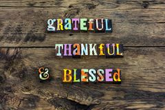 Grateful thankful blessed heart love typography stock image