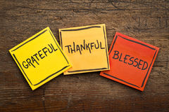 Grateful, thankful, blessed  spiritual words. Handwriting in black ink on sticky notes against rustic wood Stock Image