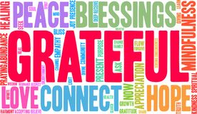 Grateful Word Cloud. On a white background Royalty Free Stock Image