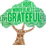 Grateful Word Cloud. On a white background Stock Images